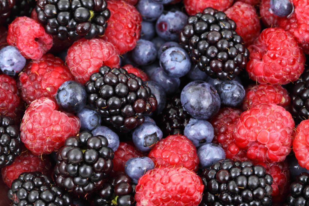 assortment of blueberries, blackberries, and raspberries